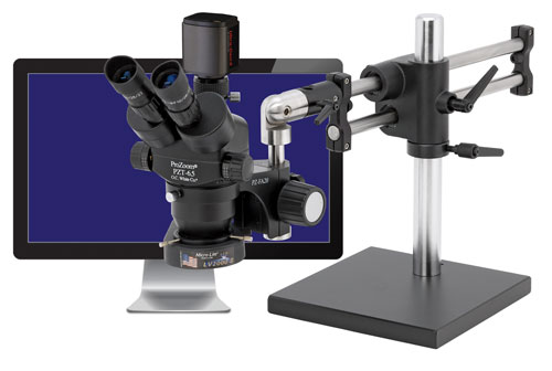 "ProZoom® 6.5 Trinocular Microscope with 5MP Ultra-Cam™ and 22"" LCD Monitor"